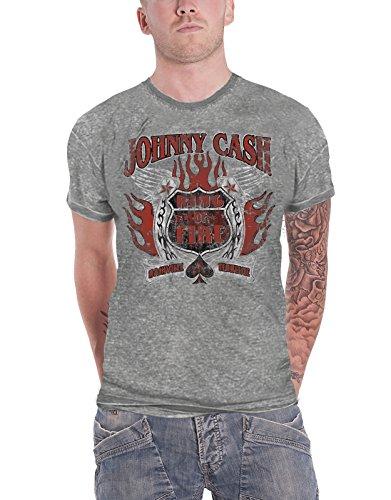 Johnny Cash T Shirt Distressed Ring of Fire Logo Ufficiale Uomo nuovo Grigio