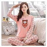 Conjuntos de pijama de manga larga para mujer, para otoño, lindo, para niñas, ropa de hogar, regalo para ropa de dormir femenina, ropa de dormir (color: CT taoxinxiong, tamaño: XL)