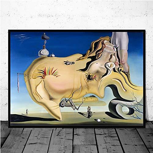 MJKLU Pintor español Salvador Dali Surrealismo Obras de Arte abstractas Lienzo Pintura Arte de la Pared Póster Impresiones Dormitorio Sala de Estar Oficina Estudio Decoración del hogar