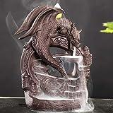 Bruciatore di incenso a flusso inverso a forma di drago, in ceramica, con 10 coni inclusi, decorazione per la casa, idea regalo artigianale