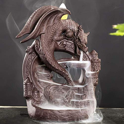 Ceramic Backflow Incense Burner Dragon, Incense Cones Burner Incense Stick Holder Backflow Incense Burner with 10 Free Cones Home Decoration Handicraft Gift