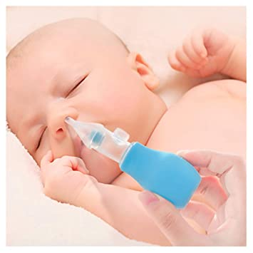 Blue Baby Nasal Aspirator Safe Nose Cleaner for Babies with 2 Replaceable Mucus Suction Heads