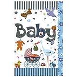 Susy Card 40009858 Grußkarte zur Geburt/ Junge 'Kinderwagen, Storch', Maße: 17 x 11 x 0, 1 cm