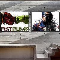 映画スーパーヒーローキャンバス絵画ポスターとプリント子供部屋の装飾ホリデーギフト| 40x60cmx2フレームなし