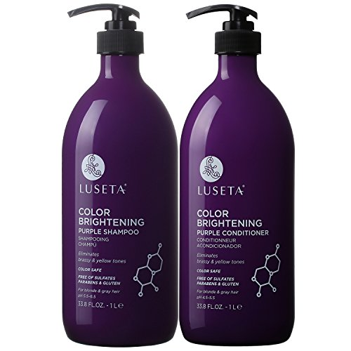 Luseta Color Brightening Purple Shampoo and Conditioner Set for Blonde and Gray Hair, Infused with Cocos Nucifera Oil to Help Nourish, Moisturize and Condition Hair, 2x33.8oz