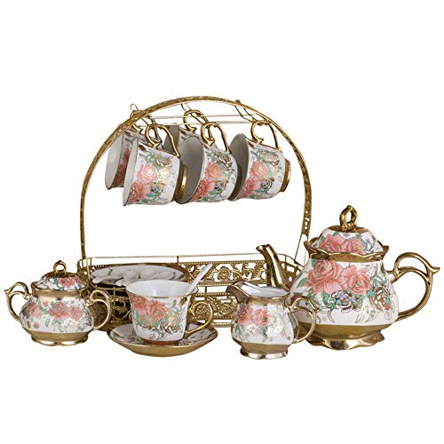 Review Tea set European Elegant Afternoon Tea Drink Coffee Set Fashion High-grade Rose Pattern Glaze...