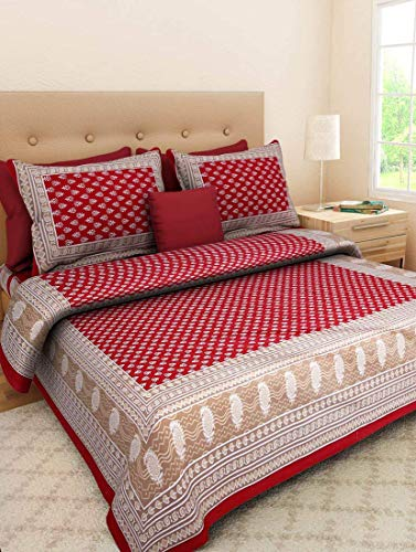 Attraction place Traditional Indian Cotton Printed King Size Double Bed Sheet with 2 Pillow Covers JN-26