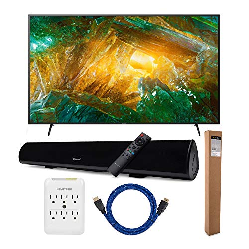 Sony XBR-X800H 75-Inch LED 4K Ultra HD HDR Smart TV with Knox Gear Wireless Bluetooth Soundbar with Mounting Bracket, Nylon-Braided 4K HDMI Cable, and 6 Outlet Slim Surge Protector Bundle (5 Items)