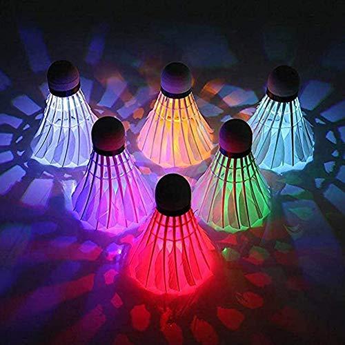 lynn 10 leuchtende Badmintonbälle, LED, 7 Farben, Farbverlauf, Badminton-Federball-Set, Beleuchtungsbälle für Hofspiele, Outdoor-Sportspielzeug