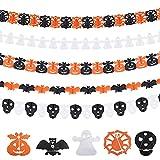 Popuppe Halloween Deko Halloween Dekoration Banner mit Schläger,Kürbis,Schädel,Spinne Halloween Accessoires für drinnen & draussen