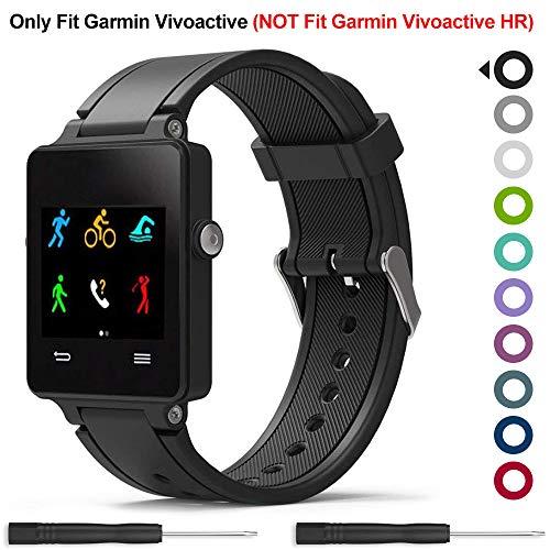 Meifox Compatible with Garmin Vivoactive Band,Solf Silicone Wristband Replacement Bands for Garmin Vivoactive Watch(Black)