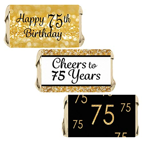 Black and Gold 75th Birthday Party Mini Candy Bar Wrappers