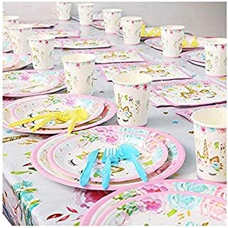 Unicorn Party Supplies and Decorations Set, Serves 16 - Disposable Tableware Set with Plates, Straws, Cups, Knives, Spoon...