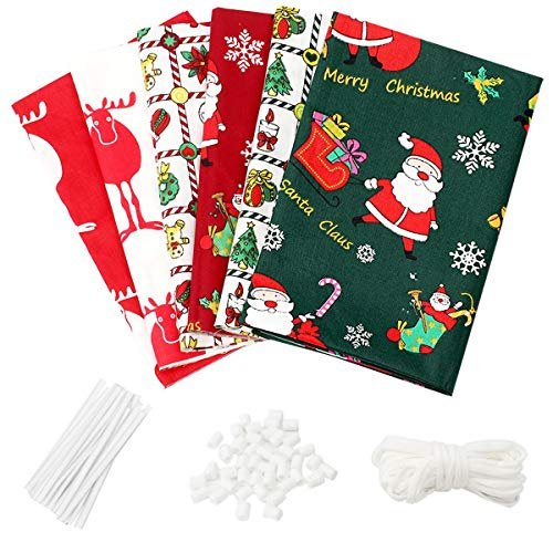 "6Pcs Cotton Fabric Printed Christmas Fabric Bundles for Sewing Patchwork Quilting Fabric Squares Bundles Pre-Cut Quilt Squares 15.7""x19.7"" (40cmx50cm) (Christmas)"