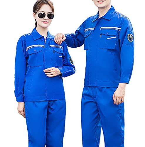 Q&M Chaqueta Trabajo para Hombres Cómodo Transpirable Laboral Industrial Taller Uniforme con Multibolsillo