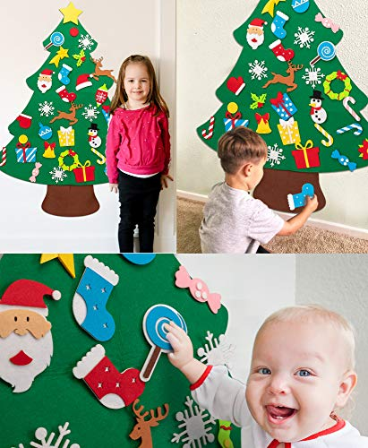 jollylife 3ft DIY Felt Christmas Tree Set + Snowman Advent Calendar - Xmas Decorations Wall Hanging 33 Ornaments Kids Gifts Party Supplies