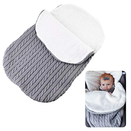 Oenbopo Newborn Baby Swaddle Blanket Wrap, Thick Baby Kids Toddler Knit Soft Warm Fleece Blanket Swaddle Sleeping Bag Sack Sleep Bag Stroller Unisex Wrap for 0-12 Month Baby Boys Girls