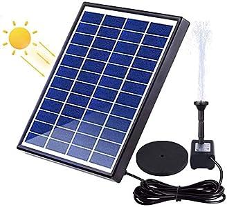 Peralng Bomba Solar para Fuente de Agua Solar eléctrica con Panel Solar, Bomba de 6 W, jardín, riego, Exterior, Bomba Flotante para jardín, Patio, pájaros, Estanque, Piscina y Estanque.