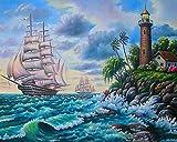 Los principiantes adultos y niños de pintura digital de bricolaje pueden pintar numerando. Apto para oficina salón cocina y dormitorio Faro océano barco 40 x 50 cm (sin borde)