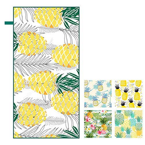 MMSWDT Long Beach Towel Datura Green Plant Printing Beach Vacation Swimming Padding Shawl Cover Double Velvet Yoga Mat-1002_160 * 80Cm