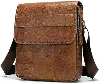 FYXKGLan Men's Vintage First Leather Flip Genuine Leather Satchel Bag (Color : Brown)