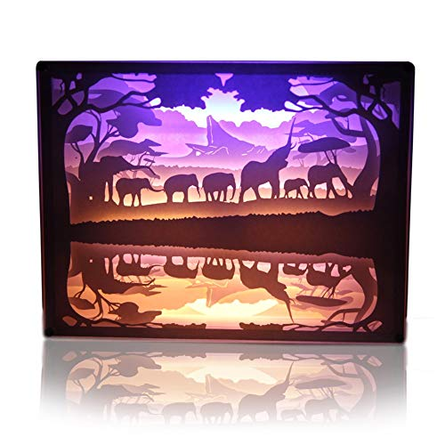 3D Light and Shadow Paper-Cut Lamp Paper Carving Art and Crafts, USB Charging Paper Sculpture Lamp Nightscape Table Lamps (Elephant)