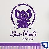 DESIGNSCAPE® Wandtattoo Babyelefant mit Name - Babyzimmer Wandtattoo 91 x 120 cm (Breite x Höhe) enzian DW809017-L-F29