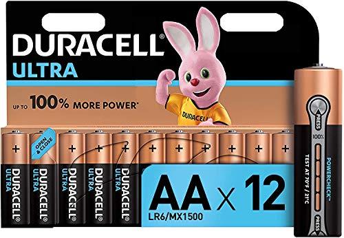 Duracell Ultra AA con Powerchek, Pilas Alcalinas, Paquete de 12, 1.5 Voltios LR06 MX1500