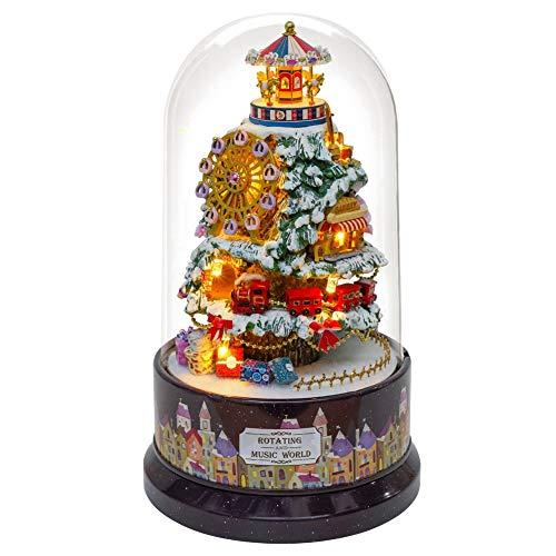 Nimomo Casa de muñecas de Bricolaje - Creativos Casa de muñecas de Bricolaje en Miniatura con luz LED de Cubierta Antipolvo de Caja de música giratoria (2 Estilos Opcionales)(Icy World)