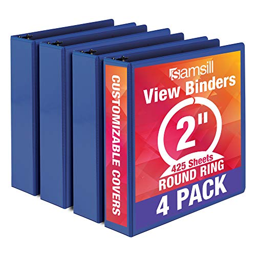 Samsill Economy 3 Ring Binder Organizer, 2 Inch Round Ring Binder, Customizable Clear View Cover, Blue Bulk Binder 4 Pack, MP48562