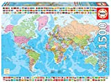 Educa - Mapamundi político Puzzle, 1 500 Piezas, Multicolor (18500)