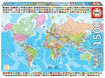 Educa Borras 18500 Map of The World with Flags 1500 Piece Jigsaw Puzzle