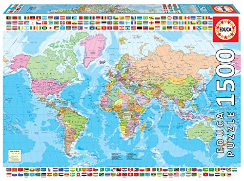 Educa 18500 Puzzles 1500 Teile Politische Weltkarte