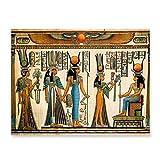 HENGCHENG Pintura Pósteres Egipto Arte De La Pared Lienzo Pintura Papel Pergamino Estilo Antiguo Antiguo Impresiones De Carteles Retro Imagen Egipcia Decoración De La Pared Rey Tut Reina, Multi, 5