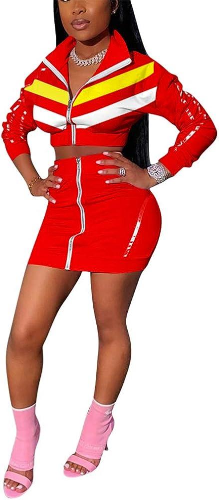 THLAI Women Cute 2 Piece Stripe Outfits Color Block Long Sleeve Zip Up Crop Jacket and Mini Skirt Set Stripe Sweatsuits