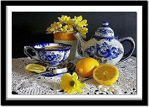 Kruissteek borduren DIY handwerken kruissteek kit set keukentafel met citroen cups Stok DIY borduursjabloon voorgedrukt borduurwerk borduur set ambachtelijke gift (11CT 16x20 inch