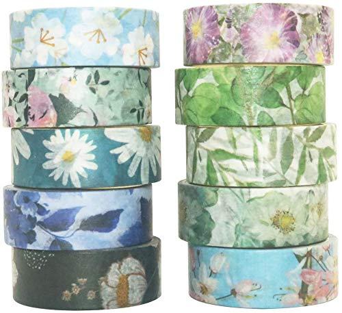 Yubbaex Washi Tape Set cinta adhesiva decorativa Washi Glitter Adhesivo de Cinta Decorativa para DIY Crafts Scrapbooking (Flores tono frío 10 Rollos)