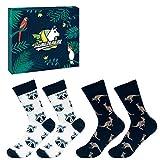 Llamabanana - 2 pares de calcetines para hombre, de algodón colorido, con caja de regalo Mapache y Canguro Talla única