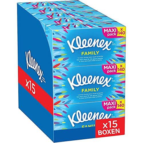 Kleenex Family Boxen-Kosmetiktücher, für den täglichen Gebrauch, 2-lagig, 15 Boxen 140 Tücher