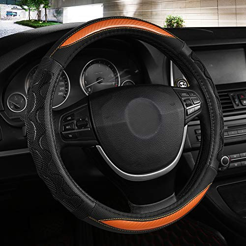 Black Panther Luxury Leather Car Steering Wheel Cover with 3D Honeycomb Hole Anti-Slip Design, 15 Inch Universal - Orange