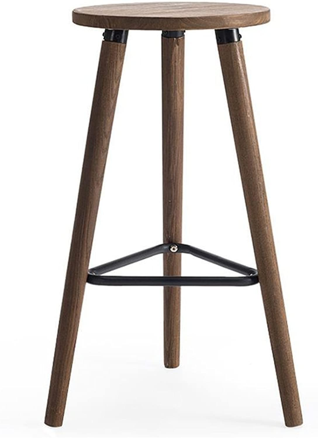 Solid Wood Bar Chair Stool High Stool Simple Style Chair Height 66.5Cm