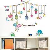 JTYQT Cartoon Sterne Farbige Fahnen Wandaufkleber PVC Material DIY Wandtattoos für Kinder Schlafzimmer Wohnzimmer Dekoration