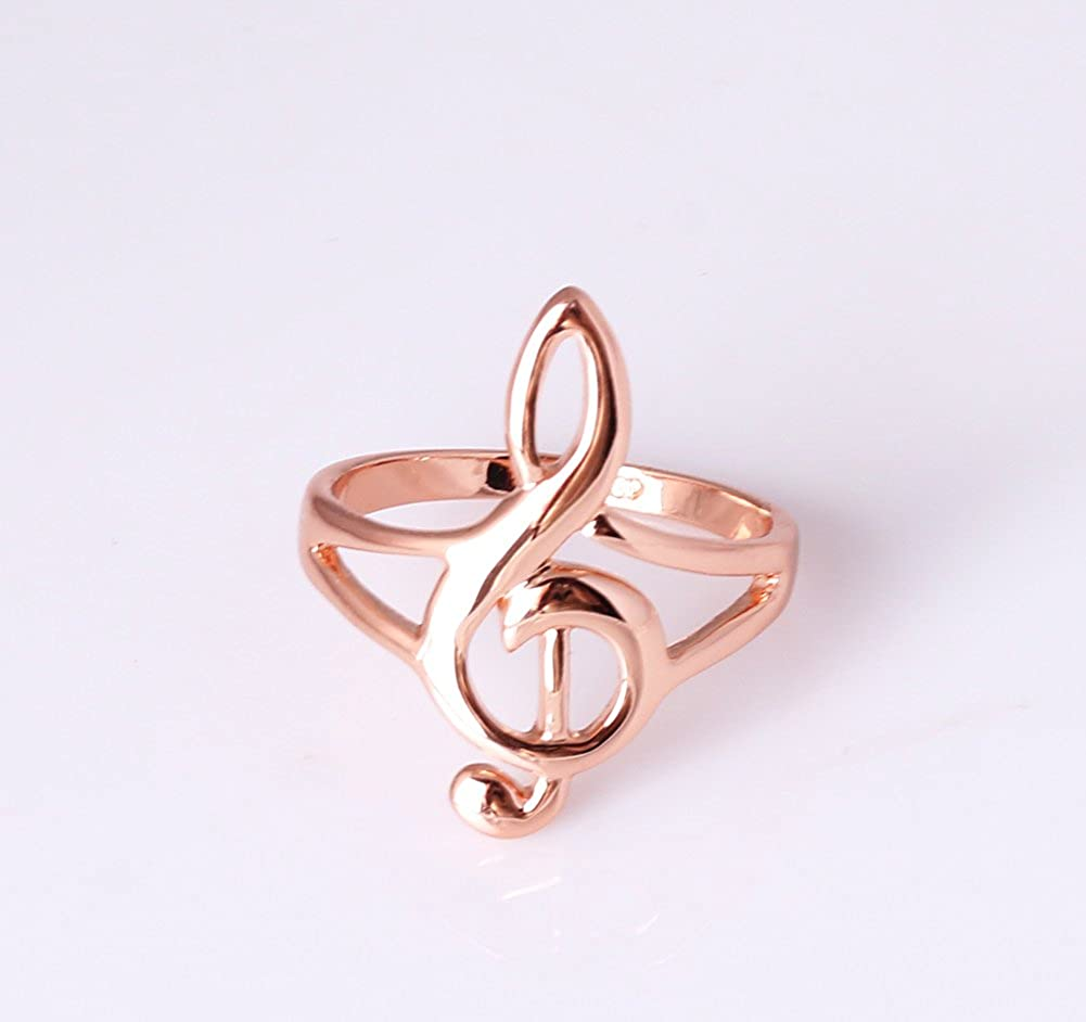 Acefeel New Lovely Musical Note Symbol Rose Gold Plated Smooth Fashion Womens Ring R236