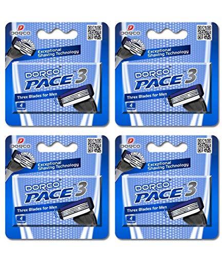Dorco Pace 3- Three Razor Blade Shaving System- Value Pack - 16 Cartridges (No...
