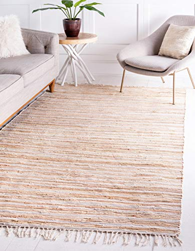 Unique Loom Chindi Cotton Collection Hand Woven Natural Fibers Area Rug, 5' 0 x 8' 0, Beige/Ivory
