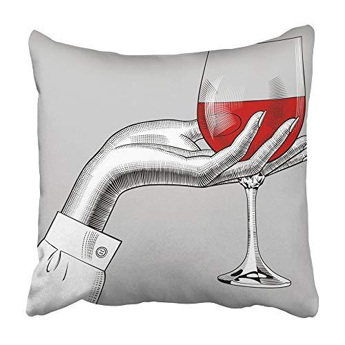 AEMAPE Throw Pillow Cases Mujer Mujer 'S Mano sosteniendo una Copa con Vino Tinto Grabado Vintage Dibujo Alcohol Bar Antiguo 40X40 Cm Funda de cojín