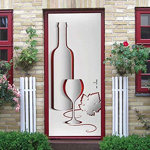 CUUDBP 3D Etiqueta De La Puerta, Botella De Vino Impermeable Extraíble Pegatinas De Pared Pintura Mural Autoadhesivos Papel Tapiz para Puertas Interiores Dormitorio Decoracion 77X200Cm