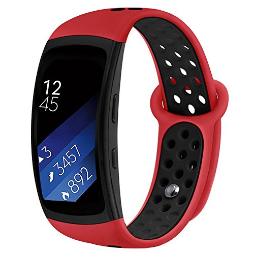 Band Compatible Gear Fit2 Pro /Fit2, Kmasic Silicone Sport Replacement Strap for Samsung Gear Fit 2 Pro & Fit 2, Red/Black