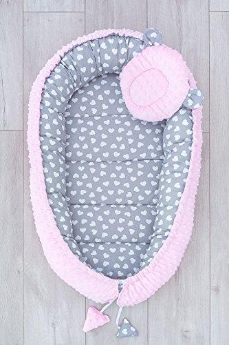 LOOLAY® 2seitig Kokon + Bärchen Kissen/Schmetterling Kissen für Neugeborene Plüsch MINKY Babynestchen Babykokon Nestchen Reisebett Säuglinge (Herzchen grau/Minky rosa B)