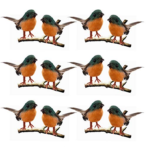 Artificial Feather Robin Bird, 12PCS Simulation Foam Robin Birds, Christmas Tree DIY Crafts Ornament, Mini Bird Figurine/Statue/Sculpture for Home Weddings Garden Indoor Outdoor Decor